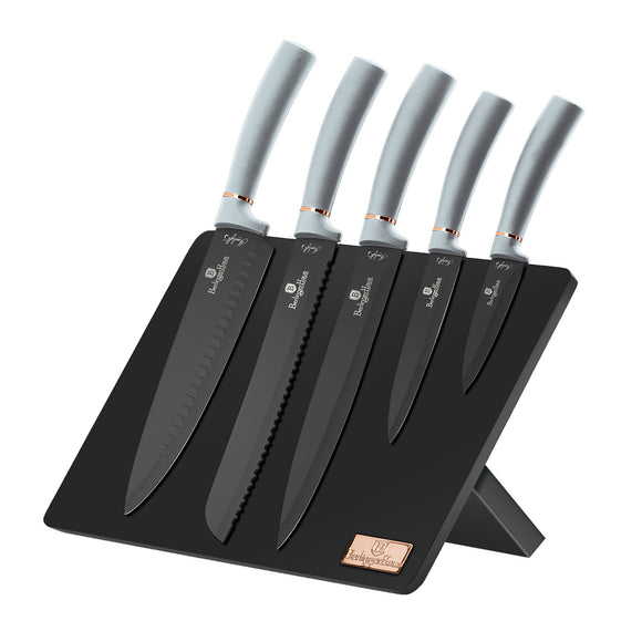 Berlinger Haus 6-Piece Non-Stick Coating Knife Set with Stand - Moonlight Collection