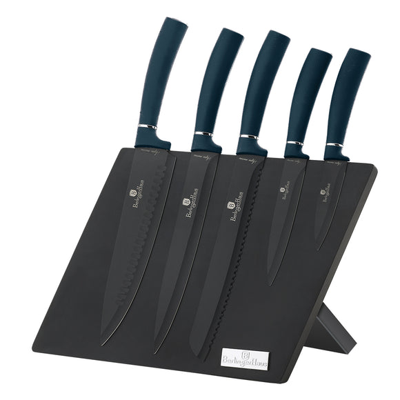 Berlinger Haus 6 Piece Marble Coating Knife Set with Magnetic Stand - Aquamarine Edition