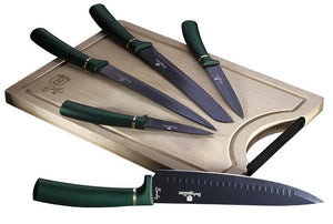 Berlinger Haus 6 Piece Knife Set with Bamboo Cutting Board - Emerald