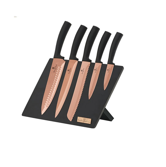 Berlinger Haus 6 Piece Copper Titanium Coating Knife Set with Magnetic Stand - Rose Gold