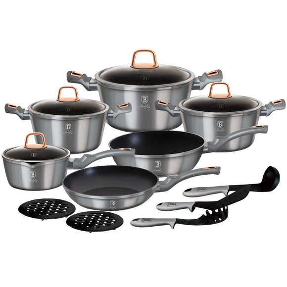 Berlinger Haus 15-Piece Marble Coating Cookware Set - Moonlight Edition
