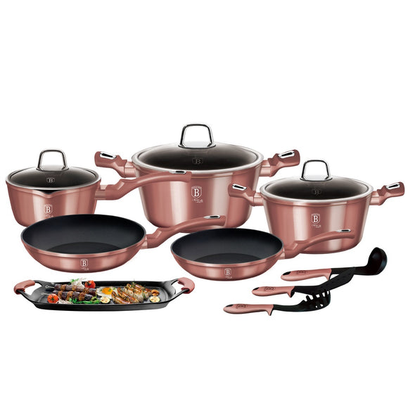 Berlinger Haus 12+2 Pieces Marble Coating Cookware Set - i-Rose Edition
