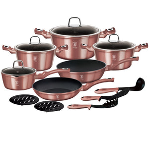 Berlinger Haus 15-Piece Marble Coating Cookware Set - i-Rose Edition