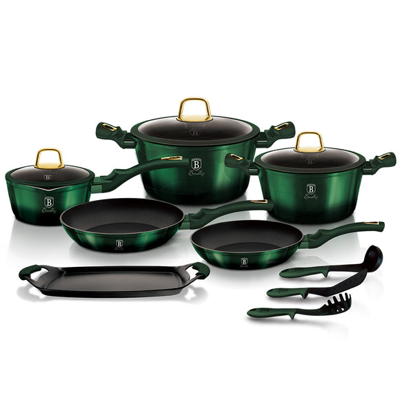 Berlinger Haus 12+2 Piece Titanium Coating Cookware Set - Emerald Collection