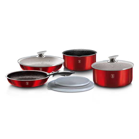Berlinger Haus 9 Piece Marble Coating Cookware Set - Burgundy Metallic Line