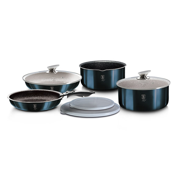 Berlinger Haus 9 Pieces Marble Coating Cookware Set - Aquamarine Edition