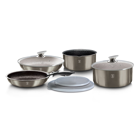 Berlinger Haus 9 Pieces Marble Coating Cookware Set - Carbon Metallic