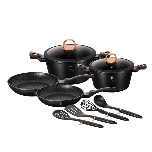 Berlinger Haus 10 Piece Marble Coating Cookware Set - Black Rose Collection