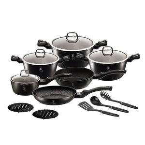 Berlinger Haus 15 Piece Marble Coating Cookware Set - Royal Black Edition