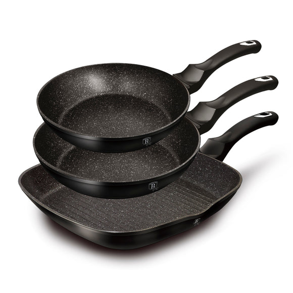 Berlinger Haus 3 Piece Marble Coating Fry Pan Set - Black Silver Collection