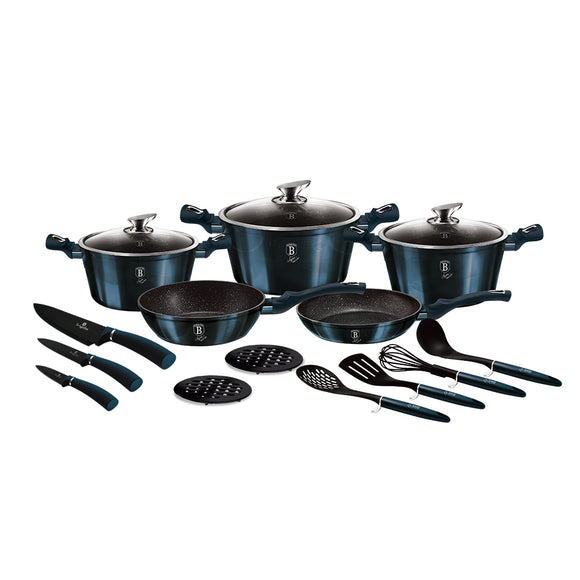 Berlinger Haus 17-Piece Marble Coating Cookware Set - Aquamarine Edition
