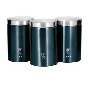 Berlinger Haus 3-Piece Stainless Steel Premium Canister Set - Aquamarine Edition