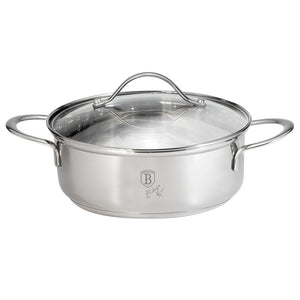 Berlinger Haus 26cm Stainless Steel Shallow Pot with Lid - Silver Jewellery Collection