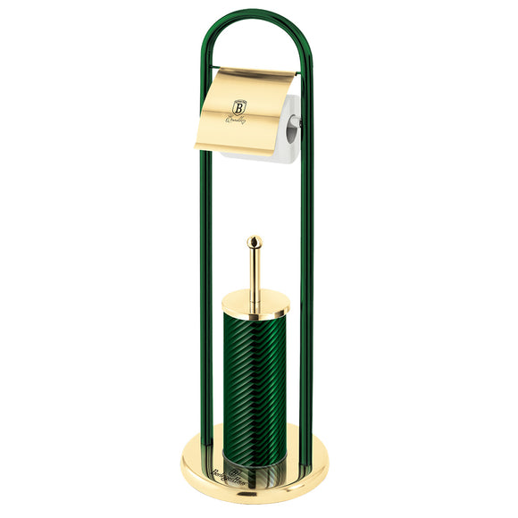 Berlinger Haus Stainless Steel Toilet Brush and Paper Holder - Emerald Edition