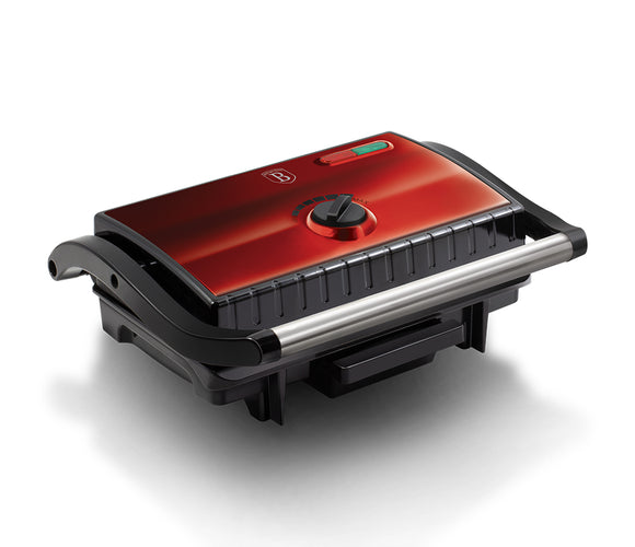 Berlinger Haus 1500w Electric Grill Panini Press with Oil Drip - Burgundy Metallic