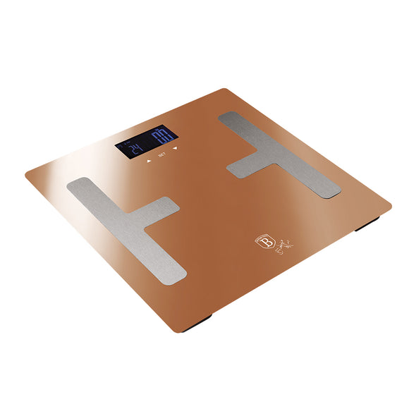 Berlinger Haus 180kg Tempered Glass Digital Body Fat Bathroom Scale - Rose Gold Metallic