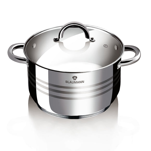 Blaumann 30cm Stainless Steel Stock Pot Gourmet Line