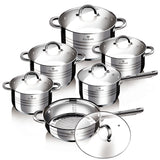 Blaumann 12-Piece Stainless Steel Cookware Set - Gourmet Line