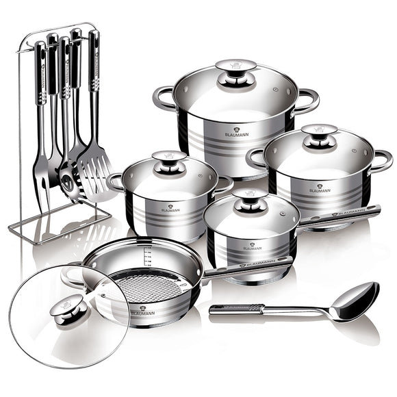 Blaumann 17-Piece Stainless Steel Cookware Set - Gourmet Line