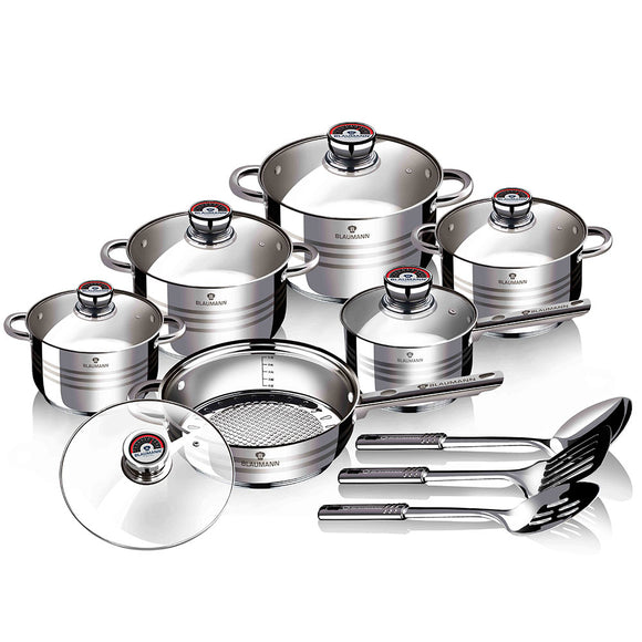 Blaumann 15-Piece Stainless Steel Cookware Set Gourmet Line