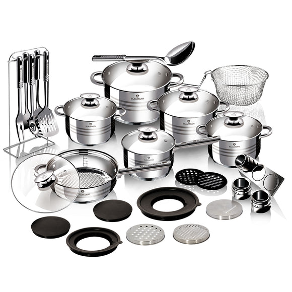 Blaumann 32-Piece Stainless Steel Cookware Set - Gourmet Line