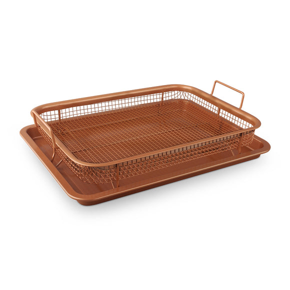 Blaumann 2-Piece Crispy Baking Tray Set with Metal Basket