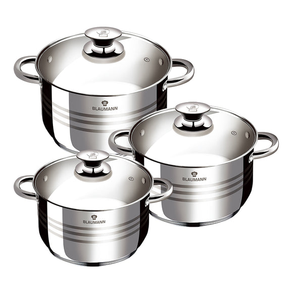 Blaumann 6-Piece Stainless Steel Cookware Set Gourmet Line
