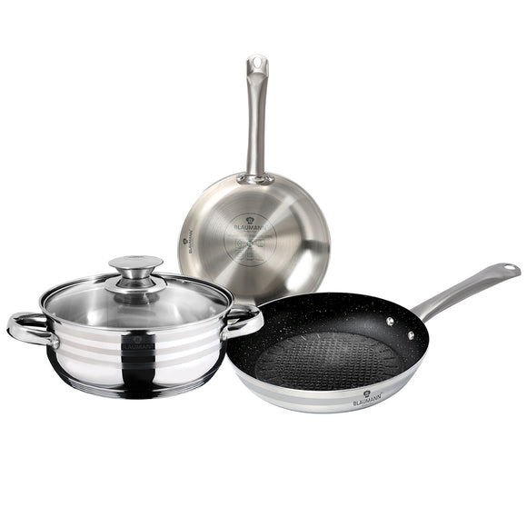 Blaumann 4-Piece Stainless Steel Cookware Set Gourmet Line