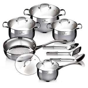 Blaumann 13-Pieces Stainless Steel Cookware Set - Gourmet Line