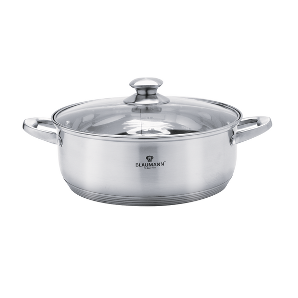 Blaumann 28cm Stainless Steel Shallow Pot with Glass Lid - Satin Gourmet Line