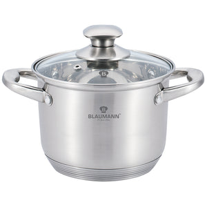 Blaumann 28cm Stainless Steel Stock Pot with Glass Lid - Satin Gourmet Line