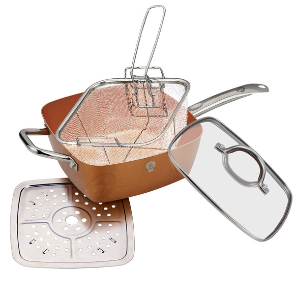Blaumann 5-in-1 Copper Ceramic Square Pan Set Le Chef Collection