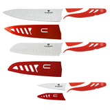Blaumann 6-Piece Stainless Steel Knife Set With Guard - Red