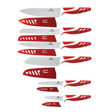 Blaumann 12-Piece Stainless Steel Knife Set With Guard - Red