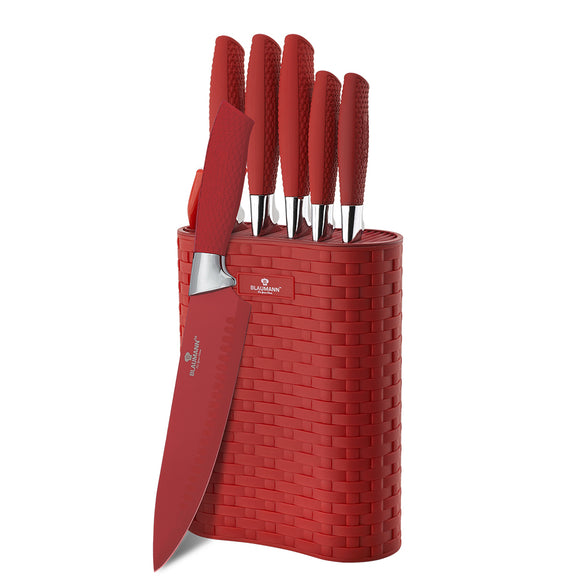 Blaumann 7-Piece Stainless Steel Non-Stick Coating Knife Set -Red