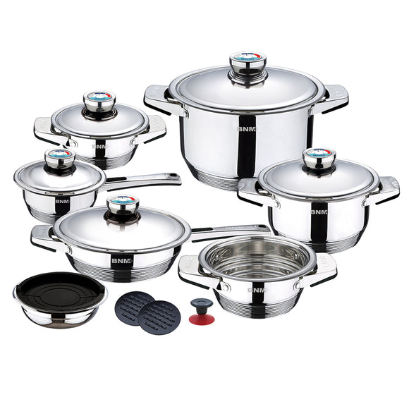 Model Home 17-Piece Wide Edge Stainless Steel Cookware Set