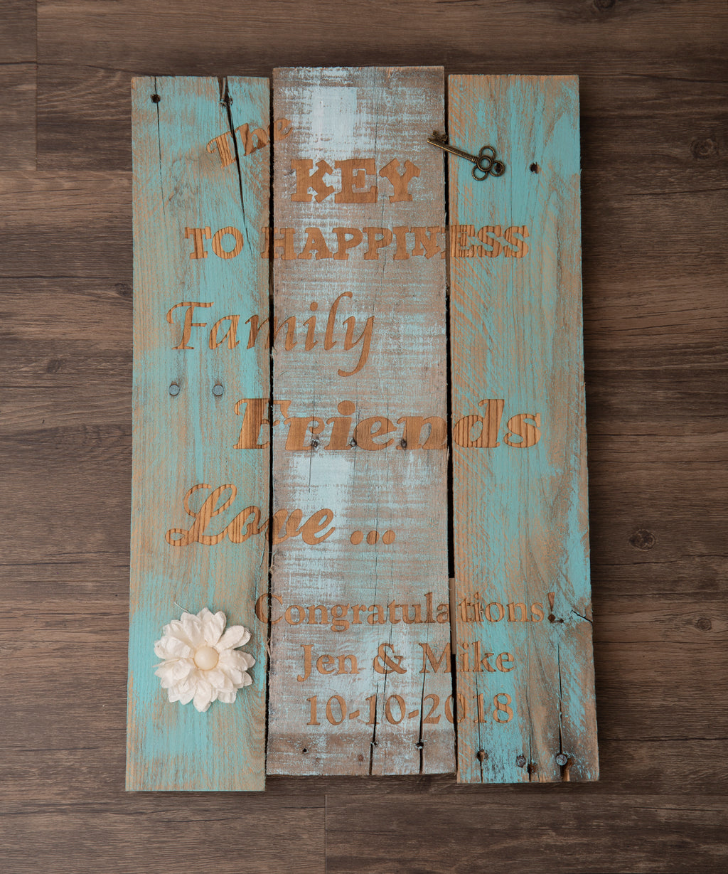 Key To Happiness Pallet Sign