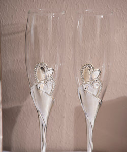 """Hearts"" Wedding Toasting Champagne Flutes"