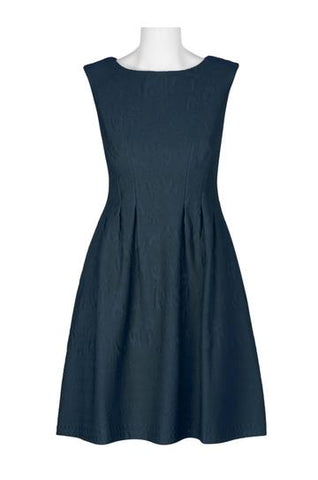 Navy pocketed A-line dress