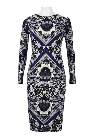 Navy gry printed bodycon dress