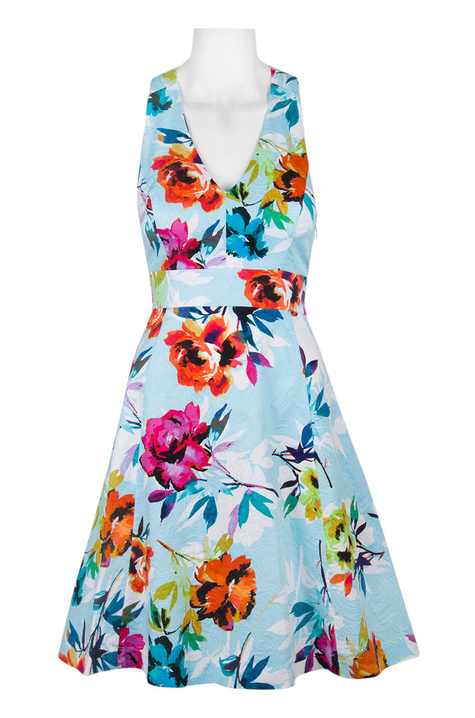 Cross back floral skater dress