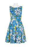 Blue Multi Skater Dress - Sarai Afrique