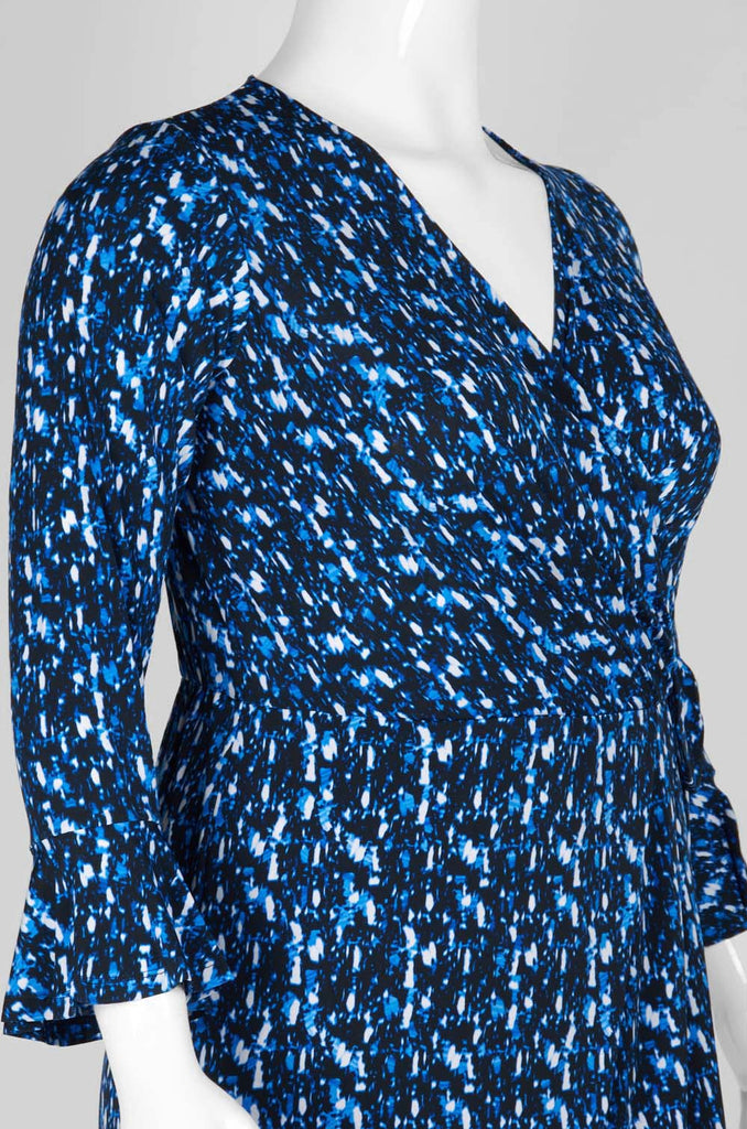 Blue Long Sleeved Dress with Side Bow - Sarai Afrique