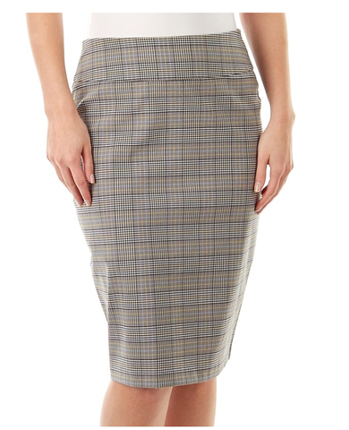 Grey Brown Checked Skirt - Sarai Afrique