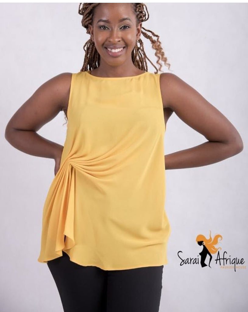 yellow ruched top - Sarai Afrique