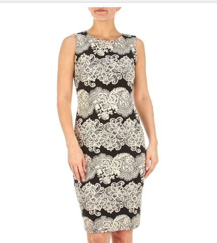 Midi Black and Cream Dress - Sarai Afrique