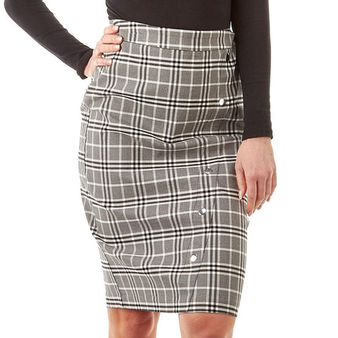 Grey Plaid Pencil Skirt - Sarai Afrique