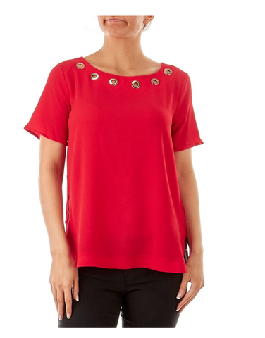 Red Gold Circles Top - Sarai Afrique
