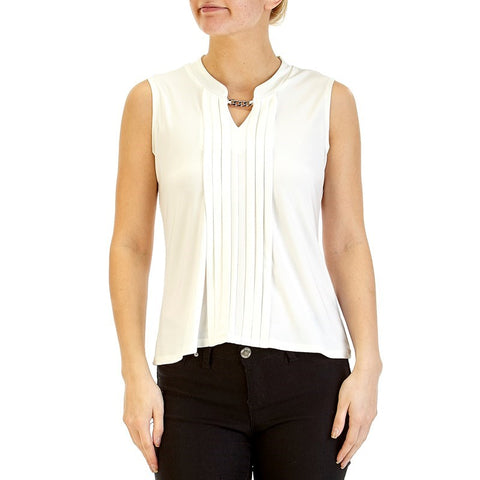 White Keyhole Sleeveless Top