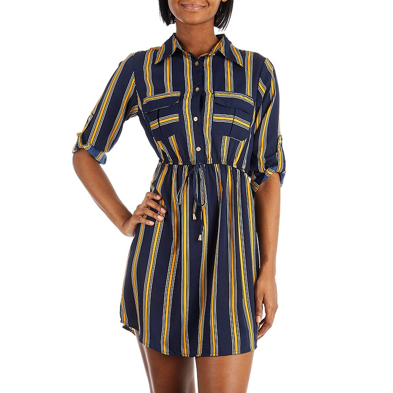 Navy Stripped Shirt Dress - Sarai Afrique